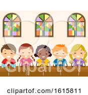 Stickman Kids Pray Rosary Church Illustration