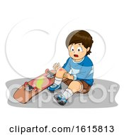 Kid Boy Bruise Skateboard Illustration