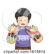 Kid Boy Skateboard Broken Illustration