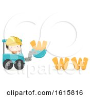 Kid Boy Developer Excavator Illustration