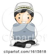 Kid Boy Muslim Laptop Illustration