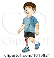 Kid Boy Prosthetic Leg Illustration