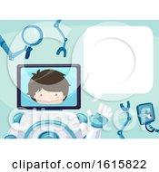 Kid Boy Robot Face Monitor Speech Bubble