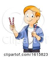 Kid Boy Straw Game Workshop Illustration