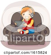 Kid Boy Tablet Couch Illustration