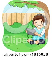 Kid Boy Tablet Under Tree Backyard Illustration