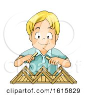 Kid Boy Build Bridge Popsicle Sticks Illustration