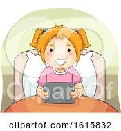 Kid Girl Bed Tablet Illustration