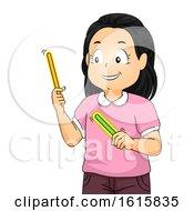 Kid Girl Glow Sticks Illustration