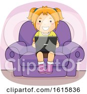 Kid Girl Laptop Couch Illustration
