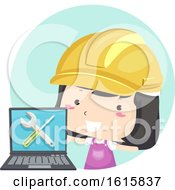 Kid Girl Laptop Under Maintenance Illustration by BNP Design Studio