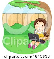 Kid Girl Laptop Under Tree Backyard Illustration