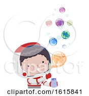 Kid Boy Astronaut Bubbles Planet Illustration