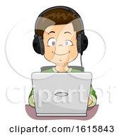 Kid Boy Blind Laptop Illustration