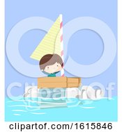 Kid Boy Boat Plastic Illustration
