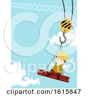 Kid Boy Engineer Crane Illustration