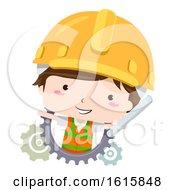 Poster, Art Print Of Kid Boy Civil Engineer Construction Illustration