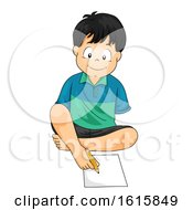 Kid Boy Disable Write Feet Illustration by BNP Design Studio