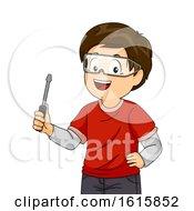 Kid Boy Hold Screwdriver Workshop Illustration