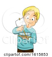 Kid Boy Make Plastic Boat Illustration