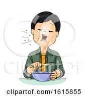 Kid Boy Talk Mouth Full Illustration