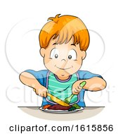 Kid Boy Use Knife Fork Illustration