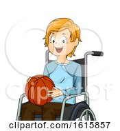 Kid Boy Wheelchair Basketball Illustration