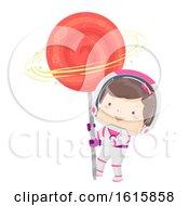 Poster, Art Print Of Kid Girl Astronaut Lollipop Illustration