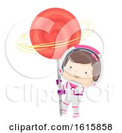 Kid Girl Astronaut Lollipop Illustration