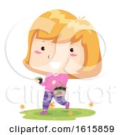 Kid Girl Black Berry Basket Illustration