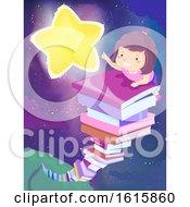 Kid Girl Book Stack Star Illustration