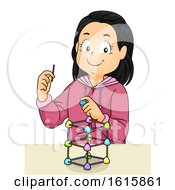 Kid Girl Gumdrops Sticks Engineering Illustration