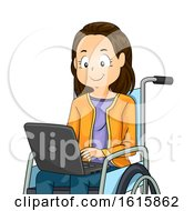 Kid Girl Laptop Wheelchair Illustration