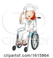 Kid Girl Wheelchair Graduate Illustration
