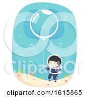 Kid Boy Bubble Balloon Underwater Illustration