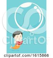 Poster, Art Print Of Kid Boy Mermaid Book Bubbles Illustration