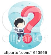 Kid Boy Question Mark Underwater Illustration
