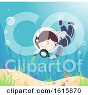 Kid Boy Magnifying Glass Observe Underwater
