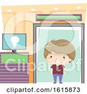 Kid Boy Airport Detector Machine Illustration