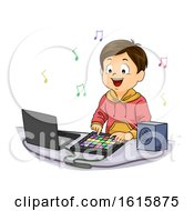 Kid Boy Electronic Drum Play Illustration