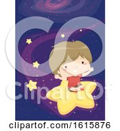 Poster, Art Print Of Kid Boy Falling Star Ride Illustration