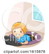 Kid Boy Laptop Floor Rug Illustration