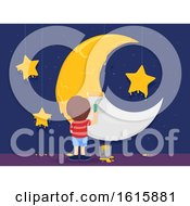 Kid Boy Paint Moon Stars Illustration