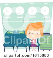 Kid Girl Airport Waiting Area Illustration