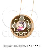 Kid Girl Donut Swing Illustration
