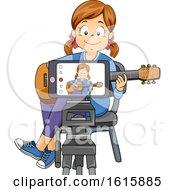 Kid Girl Guitar Cover Recording Illustration