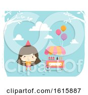 Kid Girl Ice Cream Party Cart Outdoors
