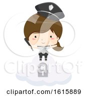 Kid Girl Security Guard Cloud Illustration by BNP Design Studio