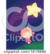 Kid Girl Wish Falling Star Illustration