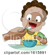 Kid Toddler Boy Teach Self Feed Illustration